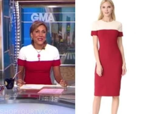 robin roberts, red and white colorblock dress, good morning america