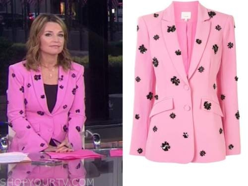 savannah guthrie, the today show, pink and black embellished blazer