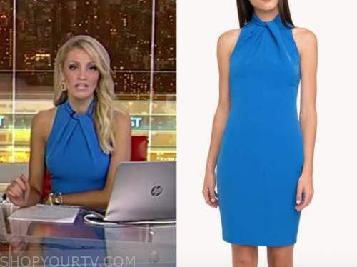 carly shimkus, fox and friends, blue halter dress