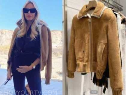 morgan stewart, brown shearling bomber jacket,