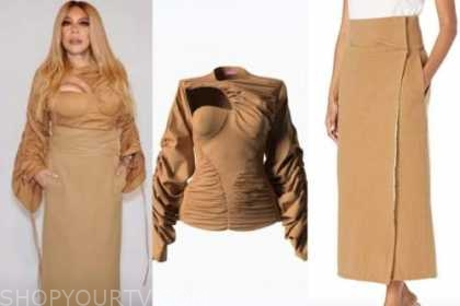 the wendy williams show, wendy williams, brown top, beige midi skirt