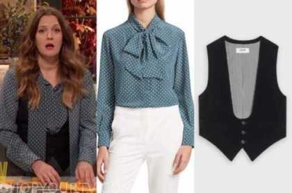 drew barrymore, drew barrymore show, blue polka dot blouse, black vest