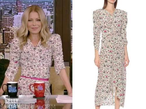 kelly ripa, live with kelly and ryan, yellow and pink printed v-neck midi dress