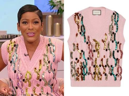 tamron hall, tamron hall show, pink sequin cable knit sweater vest