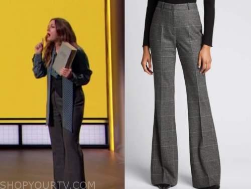 drew barrymore, drew barrymore show, grey plaid wool pants