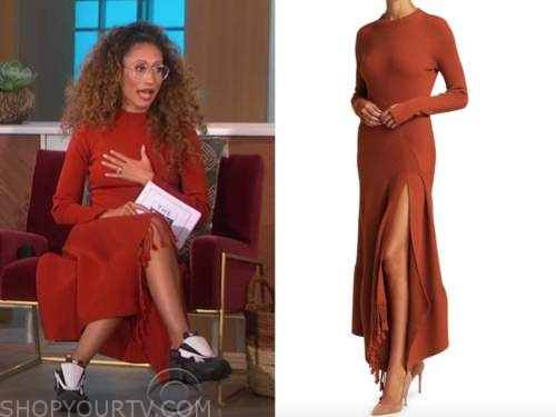 Elaine Welteroth, the talk, orange knit dress