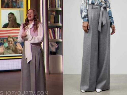 drew barrymore, drew barrymore show, grey wide leg pants
