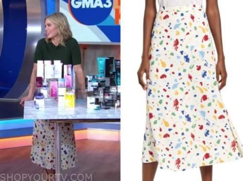 amy robach, ivory floral midi skirt, good morning america, gma3