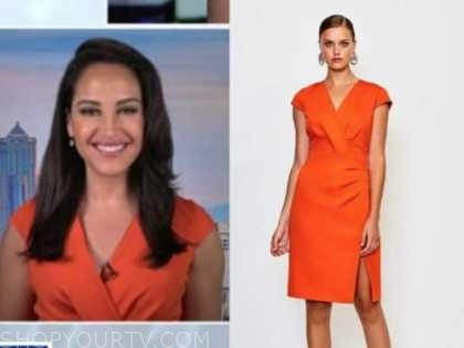 emily compagno, outnumbered, orange dress