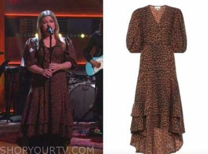 kelly clarkson, the kelly clarkson show, brown leopard wrap midi dress