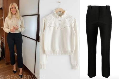 holly willoughby, this morning, ivory ruffle sweater, black pants