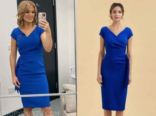 charlotte hawkins, good morning britain, blue pencil dress