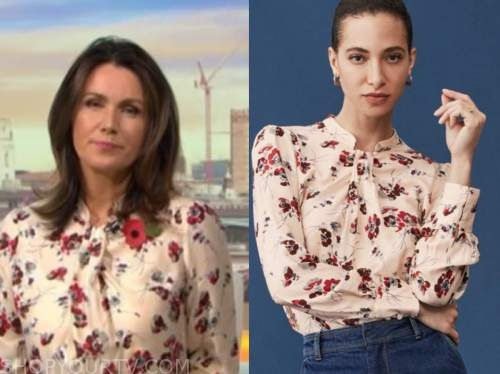 good morning britain, susanna reid, ivory and red floral blouse