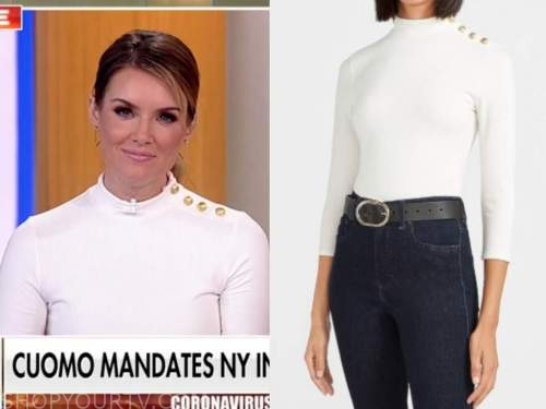 jillian mele, fox and friends, white button shoulder turtleneck top