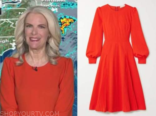 janice dean, fox and friends, red long sleeve dress