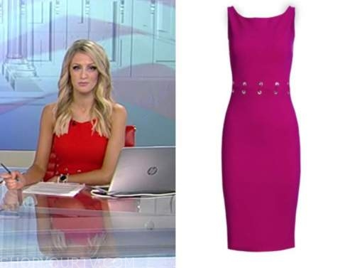 carley shimkus, fox and friends, grommet waist sheath dress