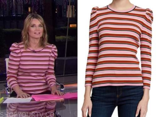 savannah guthrie, the today show, pink striped sweater top
