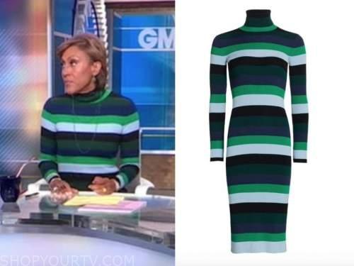 robin roberts, good morning america, green and blue striped turtleneck dress