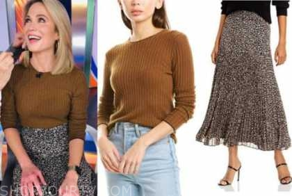 amy robach, good morning america, brown sweater, printed midi skirt
