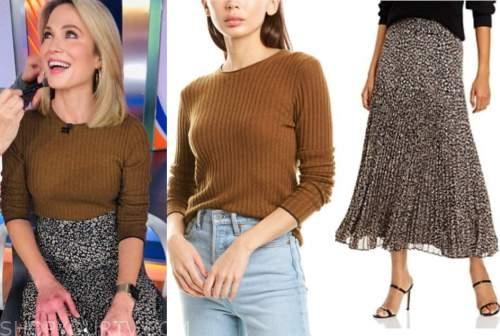 amy robach, good morning america, brown sweater, printed midi skirt