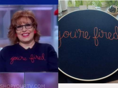"""joy behar, blue and red embroidered """"you're fired"""" sweater, the view"""