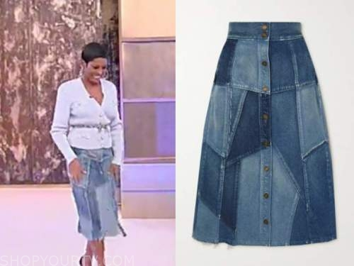 tamron hall, tamron hall show, denim patchwork skirt