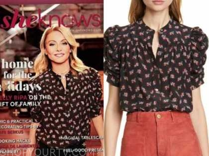 kelly ripa, live with kelly and ryan, black and red floral ruched sleeve top