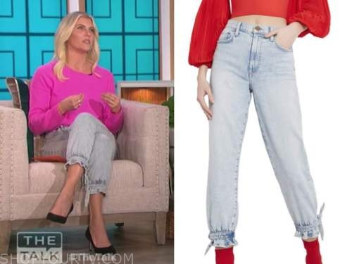 amanda kloots, light wash tie cuff jeans, the talk