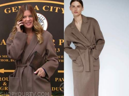 phyllis newman, michelle stafford, brown wrap coat, the young and the restless