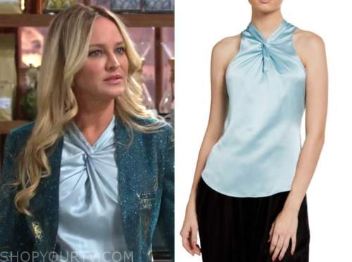 sharon newman, sharon case, the young and the restless, blue silk twist neck top