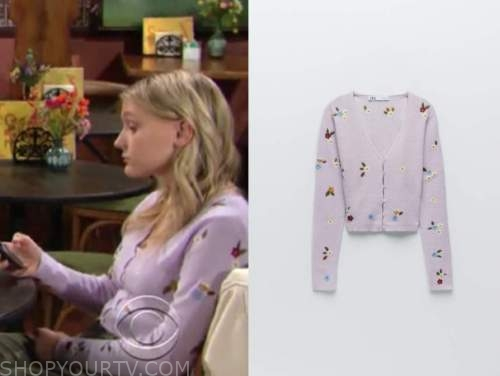 faith newman, alyvia alyn lind, purple floral embroidered cardigan sweater, the young and the restless