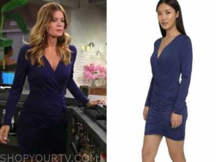phyllis newman, the young and the restless, michelle stafford, blue long sleeve ruched dress