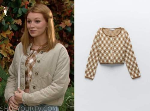 check cardigan sweater, jordan, madison thompson, the young and the restless,