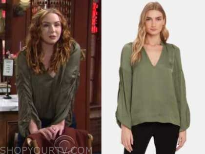 mariah copeland, the young and the restless, camryn grimes, green ruched sleeve silk top