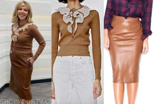 kate garrway, good morning britain, brown ruffle sweater, brown leather pencil skirt