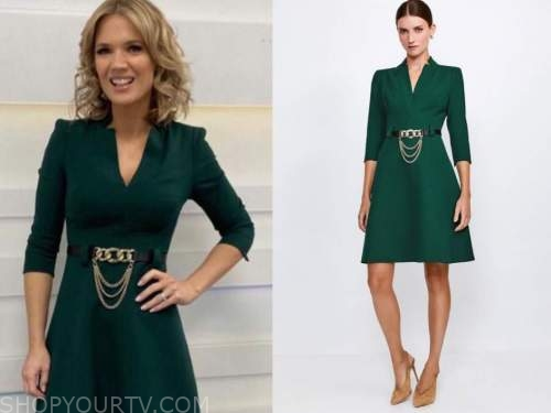 charlotte hawkins, good morning britain, green chain belted dress