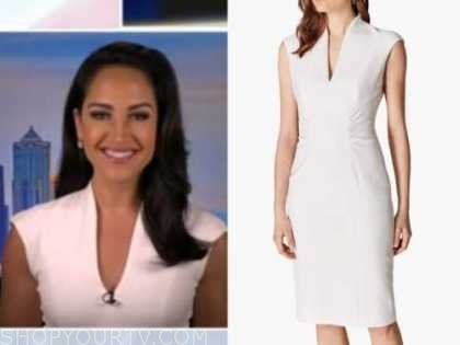 emily compagno, outnumbered, white sheath dress