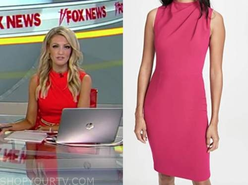 carley shimkus, fox and friends, pink drape front sheath dress