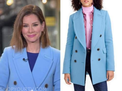 rebecca jarvis, good morning america, blue double breasted coat