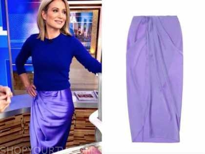 amy robach, purple silk drape skirt, good morning america