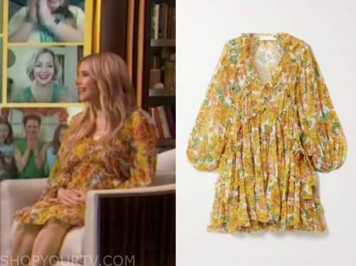 emma roberts, yellow and orange floral ruffle dress, drew barrymore show