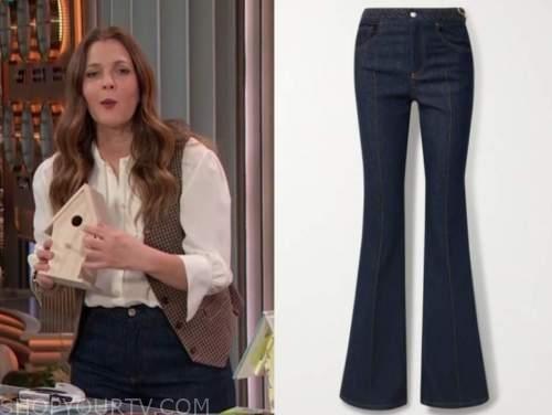 drew barrymore, drew barrymore show, braided waist jeans