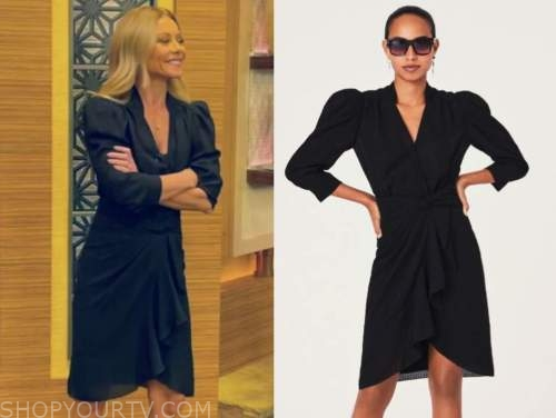 kelly ripa, black ruffle long sleeve dress, live with kelly and ryan