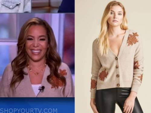 sunny hostin, the view, beige and orange embellished cardigan sweater