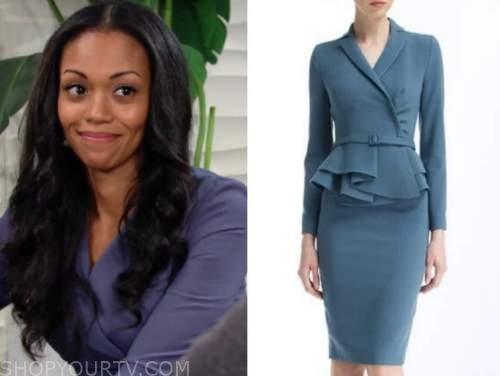 amanda sinclair, the young and the restless, mishael morgan, blue belted skirt suit dress