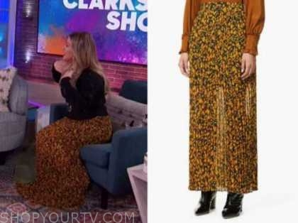 kelly clarkson, the kelly clarkson show, mustard yellow printed pleated maxi skirt