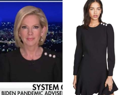 shannon bream, fox news at night, black pearl button dress