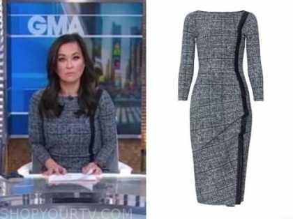 eva pilgrim, tweed plaid dress, good morning america