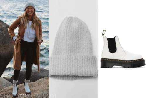 becca tilley, the bachelor, grey beanie, white combat boots