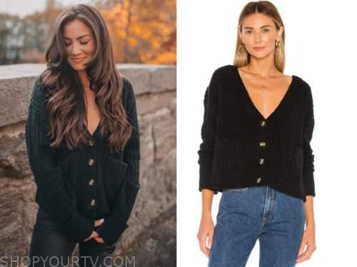 caila quinn, the bachelor, black cardigan sweater